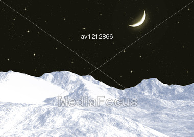 Snow Mountain Tops Against The Night Sky Stock Photo