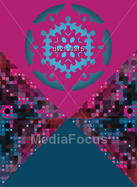 Snowflake On Pink And Blue Triangle As Frame For Text, Modern Winter Card Design Stock Photo