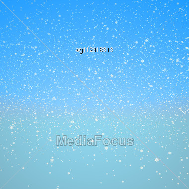 Snowflakes And Blue Sky. Xmas Or Winter Texture, Background Stock Photo