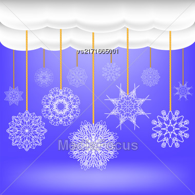Snowflakes Hang On A Rope. Abstract Winter Snow Background. Abstract Winter Pattern. Blue Snow Flakes Background Stock Photo
