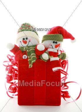 Snowmen in a Gift Box Stock Photo