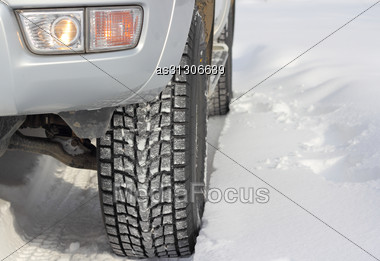 Snowy Winter Road Ahead An Unrecognizable Car Stock Photo