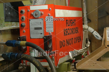 So-called Black Box - A Flight Recorder In Position In A Commercial Aircraft Stock Photo