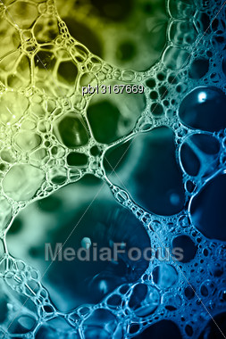 Soap Bubbles Texture, Macro, Toned Stock Photo