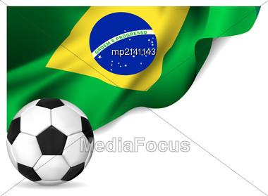 Soccer Ball With Brasil Flag. Vector Illustration Stock Photo