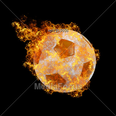 Soccer Ball On A Black Fire Background Stock Photo