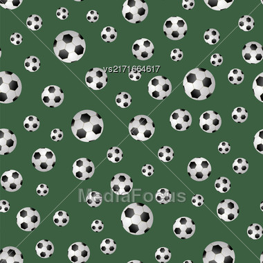 Soccer Ball Seamless Pattern On Green Background Stock Photo