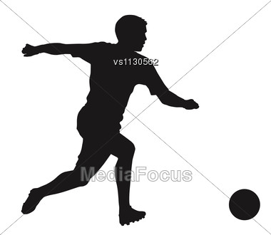 Soccer Player Detailed Vector Silhouette. Sports Design Stock Photo
