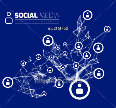 Social Network With Dot Connected By Lines. Vector Illustration Stock Photo