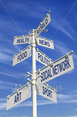 Social Networking Conceptual Directional Post With Variety Of Interests Over Blue Sky Stock Photo