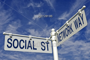 Social Street And Network Way Conceptual Directional Post Over Blue Sky Stock Photo