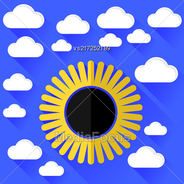 Solar Eclipse And Clouds Isolated On Blue Background Stock Photo