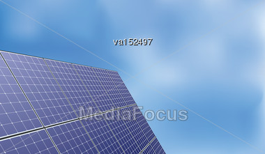 Solar Panel Over Blue Sky Background Green Eco Renewable Energy Mesh Vector Illustration With Right Copyspace For Text Stock Photo