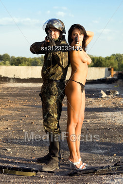 Soldier girl naked
