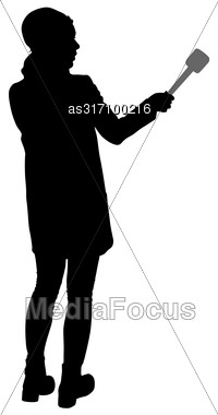 Sound Technician With Microphone In Hand. Silhouettes On White Background Stock Photo
