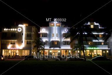Southbeach at Night - Miami, FL USA Stock Photo