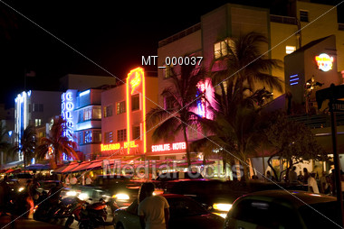 Southbeach at Night, Miami, FL USA Stock Photo