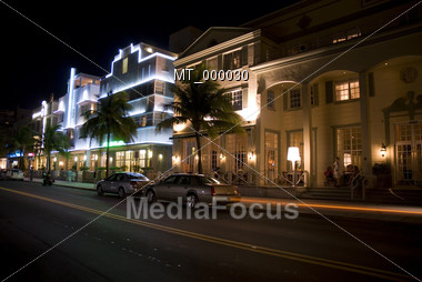 Southbeach Miami with Neonlights at Night Stock Photo