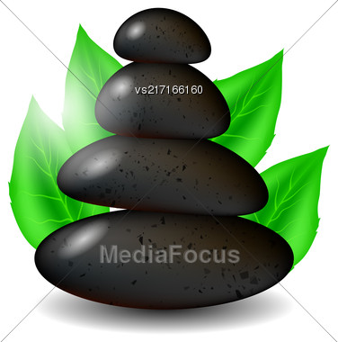 Spa Stones Background With Green Leaves Isolated On White Background Stock Photo
