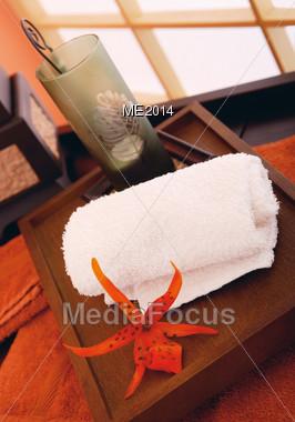 Spa Towel & Brush Stock Photo