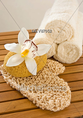 Spa Towels, Sponge & Wash Mitten Stock Photo