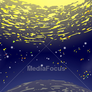 Space Background. Universe Filled With Stars. Natural Night Sky. Sun And Earth. Milky Way Galaxy Stock Photo