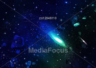 Space. Meteor Stock Photo