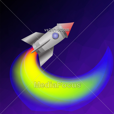 Space Rocket On Blue Sky. Launching Spacectaft Stock Photo