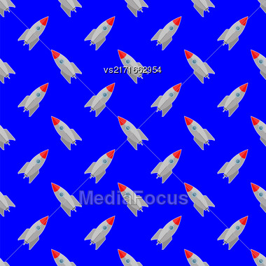 Space Rocket Flying On Blue Sky Background. Seamless Pattern Stock Photo