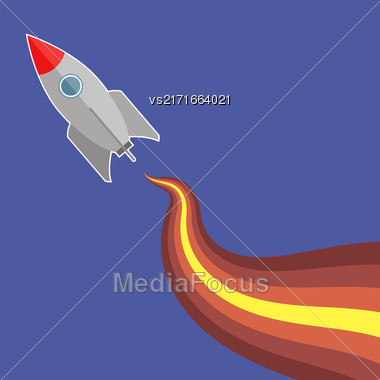 Space Rocket Flying On Blue Sky Background Stock Photo