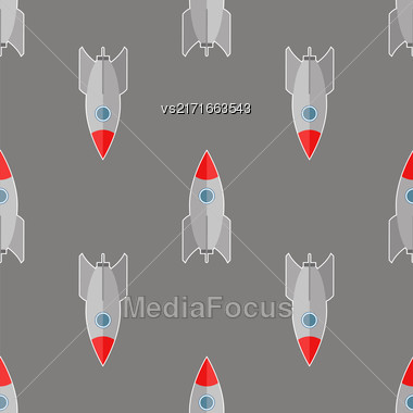 Space Rocket Flying On Grey Background. Seamless Pattern Stock Photo