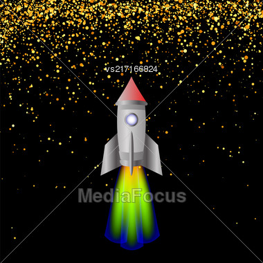 Space Rocket On Hight Starry Sky. Launching Spacectaft Stock Photo
