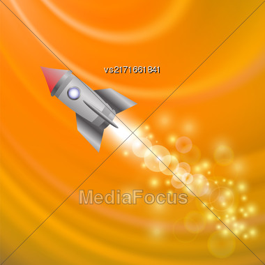 Space Rocket On Orange Wave Background . Launching Spacecraft Stock Photo
