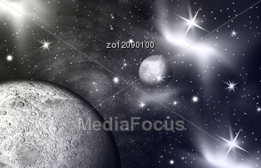 Space Scene With Light Creeping Around A Distant Planet. Stock Photo