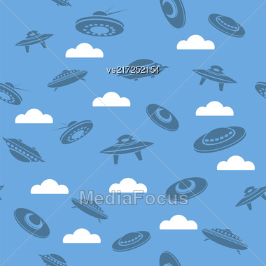 Space Ship Silhouettes Seamless Pattern On Blue Sky Background Stock Photo