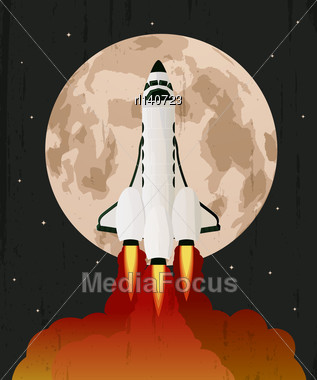 Space Shuttle Launch Ove Grunge Moon Background Stock Photo