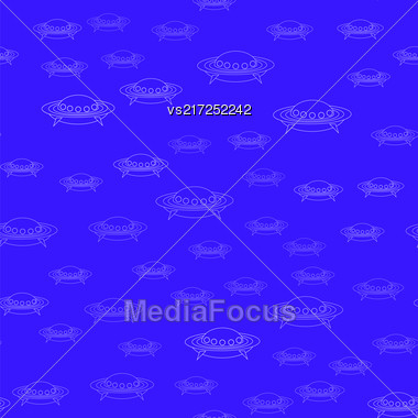 Spaceship Seamless Pattern On Blue. Spacecraft Background. Aliens Fly On Flying Saucer Stock Photo