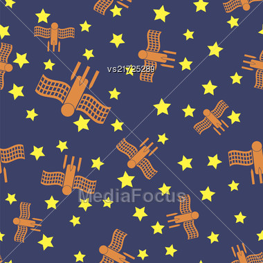 Spaceship Seamless Pattern On Blue. Spacecraft Background. Aliens Fly On Star Sky Stock Photo