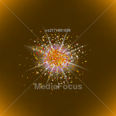 Sparkling Texture. Star Flash. Glitter Particles Pattern. Explosion On Brown Background. Star Dust Stock Photo
