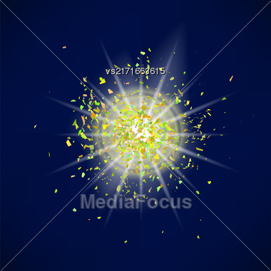 Sparkling Texture. Star Flash. Glitter Particles Pattern. Explosion On Blue Background. Star Dust Stock Photo