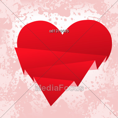Spattered With Pink Background With A Red Paper Broken Heart Stock Photo