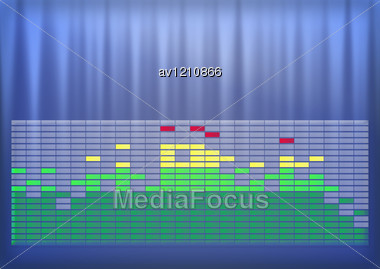 Spectrum Graphics-equalizer On Abstract Techno Colorful Background Stock Photo