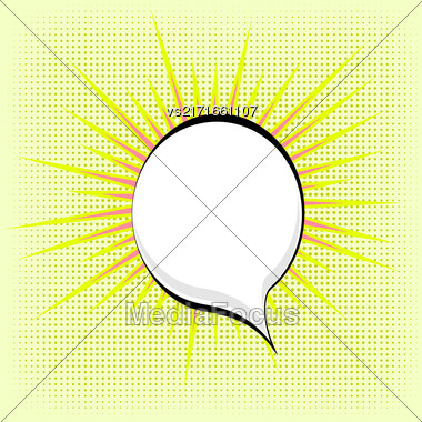 Speech Bubble On Yellow Dotted Background. Retro Comic Speech Bubble Stock Photo