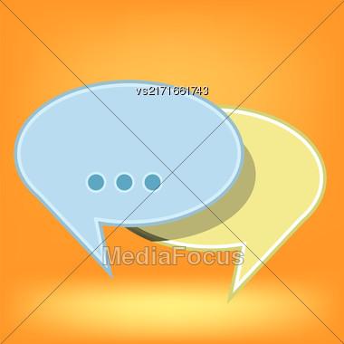 Speech Bubbles Isolated On Soft Orange Background Stock Photo