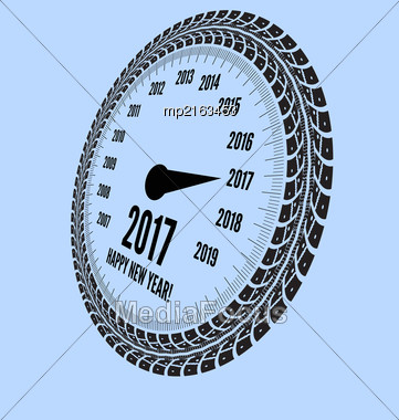 Speedometer 2017 Year Greeting. Styling By Tire Tracks. Vector Illustration Stock Photo