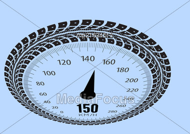 Speedometer Vector Illustration. Styling By Tire Tracks. Vector Illustration Stock Photo