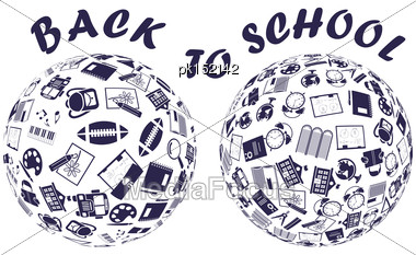 Sphere With Doodle Education Symbols Stock Photo