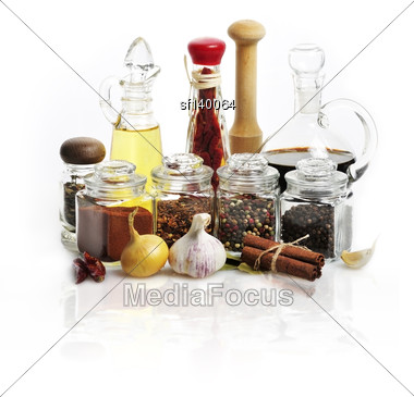 Spices,Cooking Oil And Vinegar On White Background Stock Photo