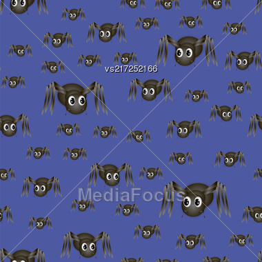 Spider Seamless Pattern Isolated On Blue Background Stock Photo