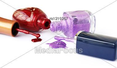 Spilled Nail Polishes Stock Photo